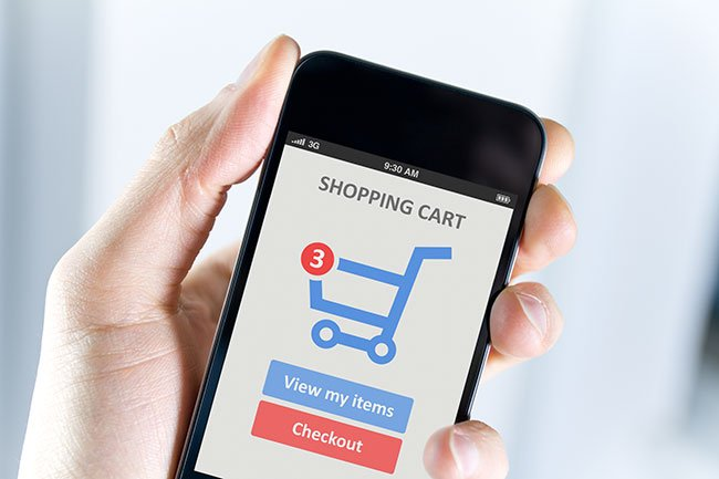 shopping cart on ecommerce website